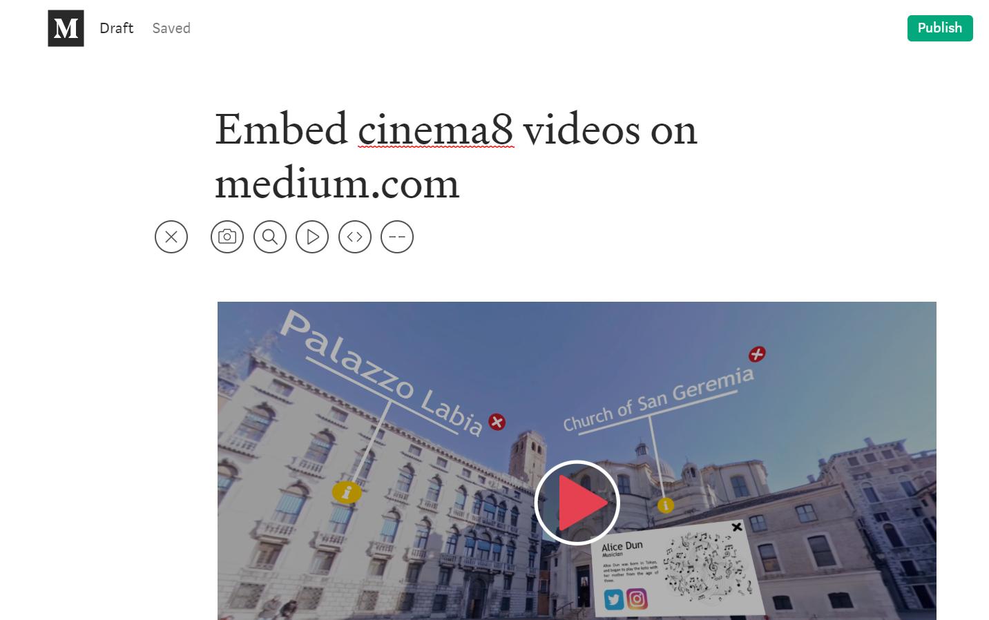 Embedding Cinema8 Videos on Medium.com