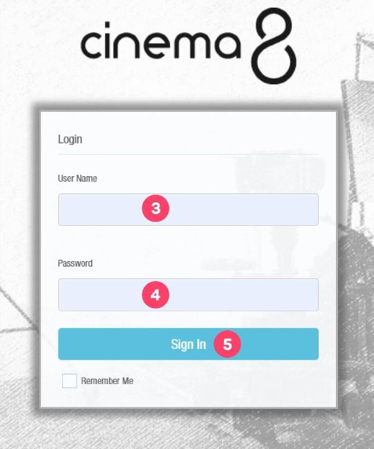 Login to Cinema8 Creative Studio 3