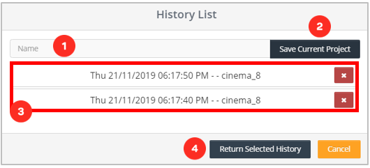 Cinema8 Interactive Video Articles - How to use Project History
