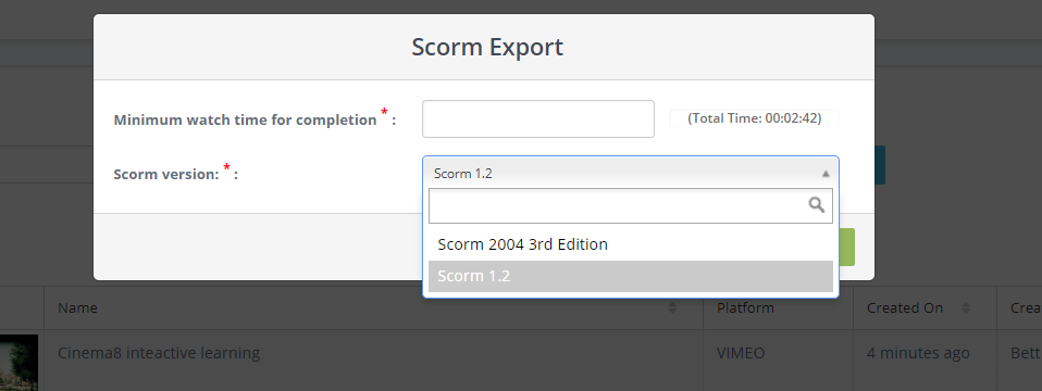Scorm Export for LMS systems -2 Cinema8